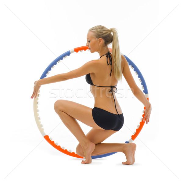 Nő tornaterem gyönyörű szőke nő sport visel Stock fotó © Pilgrimego
