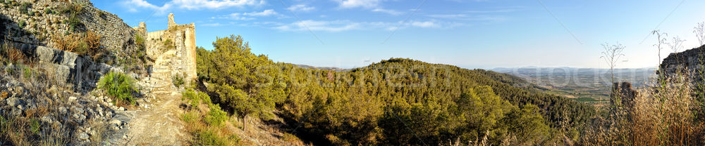 Stok fotoğraf: Panoramik · görmek · eski · kale · dağlar · duvar