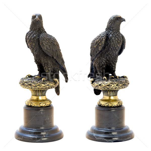 Stock photo: Bronze antique figurine of the eagle.