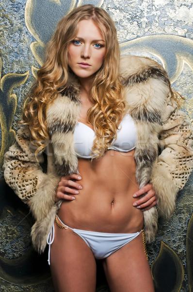 美しい ブロンド 毛皮 ジャケット 肖像 女性 ストックフォト © Pilgrimego