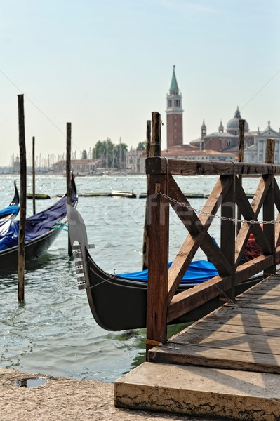 View to the gondolas and boats berth  in Venice. Stock photo © Pilgrimego