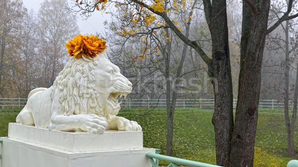 像 大理石 ライオン 公園 ロシア 庭園 ストックフォト © Pilgrimego