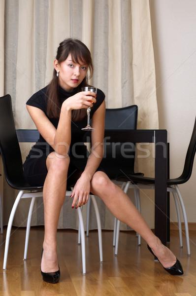 женщину стекла красивая женщина черное платье вино Сток-фото © Pilgrimego