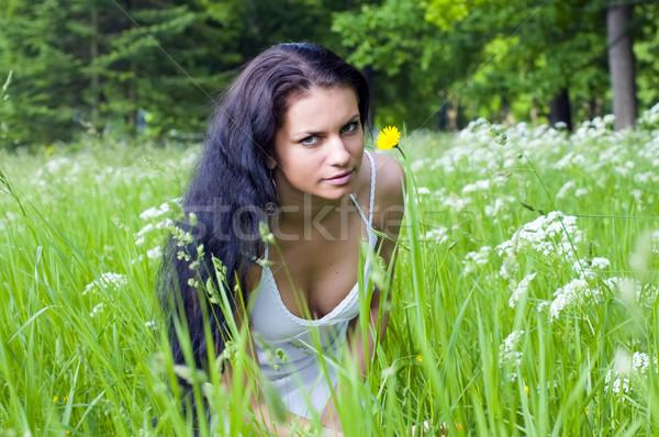 女性 花 肖像 美少女 草原 空 ストックフォト © Pilgrimego
