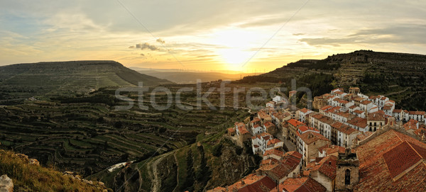 Sunset landscape of the small town with mountain view. Ares in S Stock photo © Pilgrimego