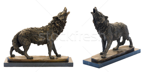 Bronze antique figurine of the howling wolf. Stock photo © Pilgrimego