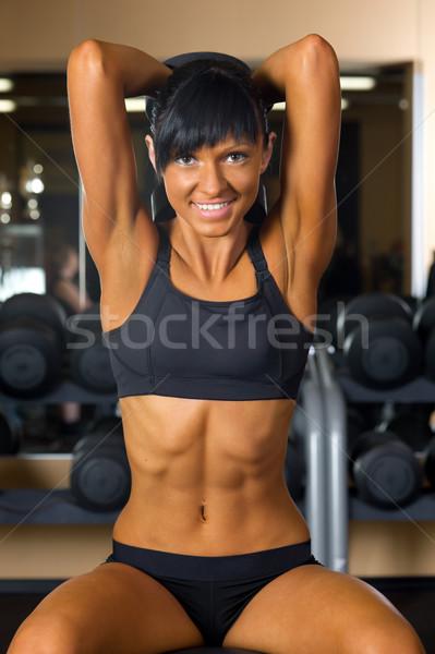 Stok fotoğraf: Güzel · bir · kadın · spor · salonu · spor · kulüp · kız · vücut