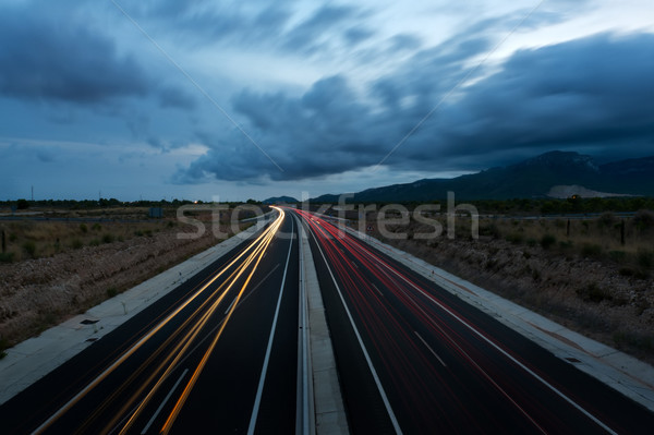 Highway with traces of car lights in Twilight Stock photo © Pilgrimego