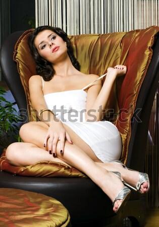 Beautiful woman in yellow underwear in luxury  interior. Stock photo © Pilgrimego