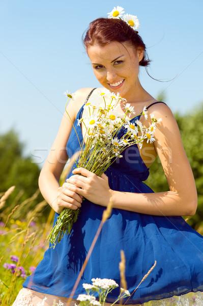 夏 草原 美人 肖像 女性 ストックフォト © Pilgrimego