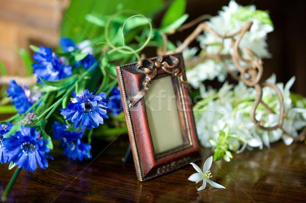 Stilleven antieke frame bloemen hart Stockfoto © Pilgrimego