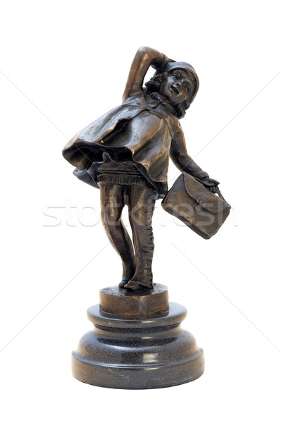 Antik bronz szobrocska lány táska izolált Stock fotó © Pilgrimego
