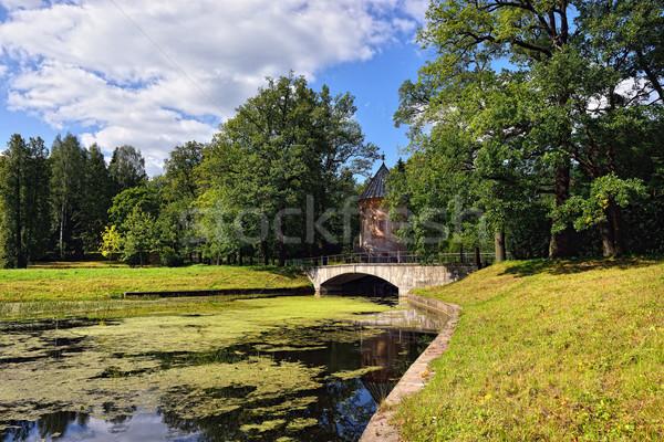 Summer landscape of the Pavlovsk garden, Pil-Tower pavilion. Stock photo © Pilgrimego