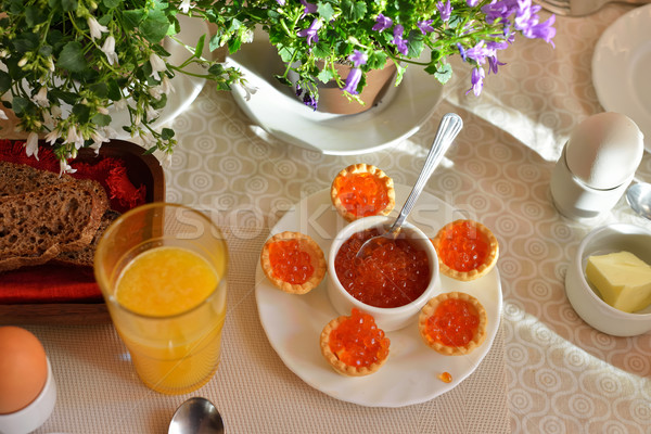 Festive continental breakfast with red caviar, soft-boiled egg a Stock photo © Pilgrimego