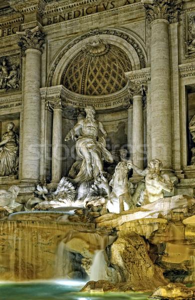 Gece aydınlatma trevi Çeşmesi Roma güzel zaman Stok fotoğraf © Pilgrimego