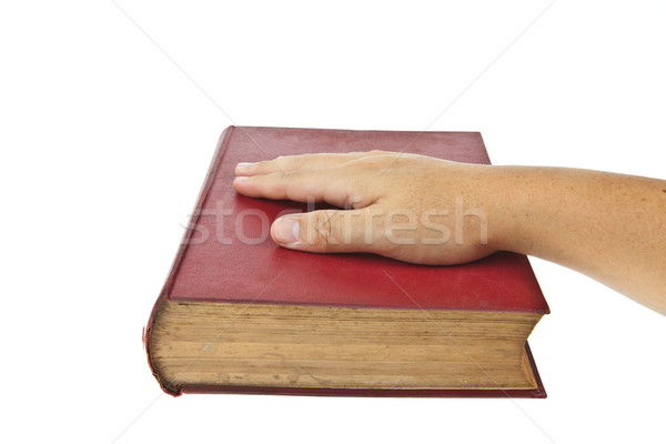 Régi könyv szem szemüveg izolált fehér papír Stock fotó © pinkblue