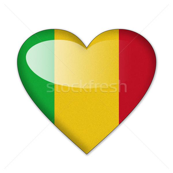 Stockfoto: Mali · vlag · hartvorm · geïsoleerd · witte · liefde