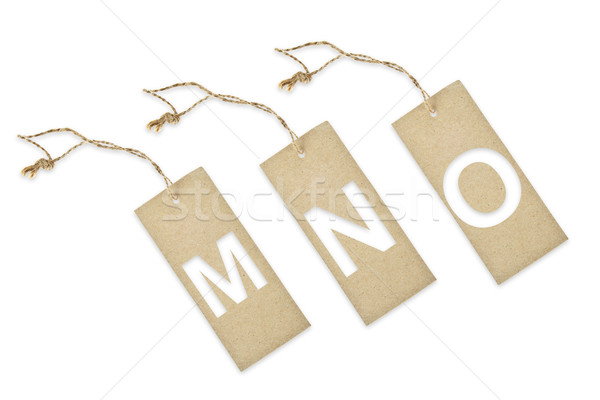 Brown paper tag with letter M N O cut Stock photo © pinkblue