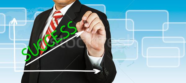 üzletember rajz grafikon siker felfelé üzlet Stock fotó © pinkblue