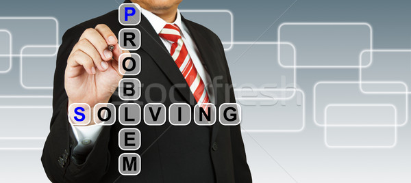 Businessman hand drawing Problem Solving Stock photo © pinkblue