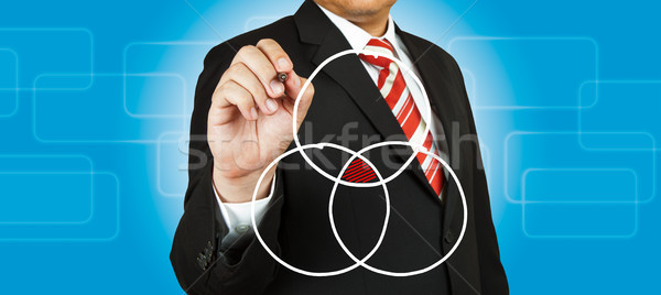 Businessman drawing intersected circle diagram and shadow the in Stock photo © pinkblue