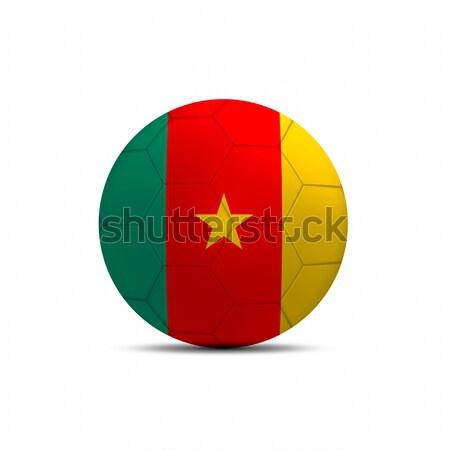 Kamerun banderą piłka odizolowany biały piłka nożna Zdjęcia stock © pinkblue