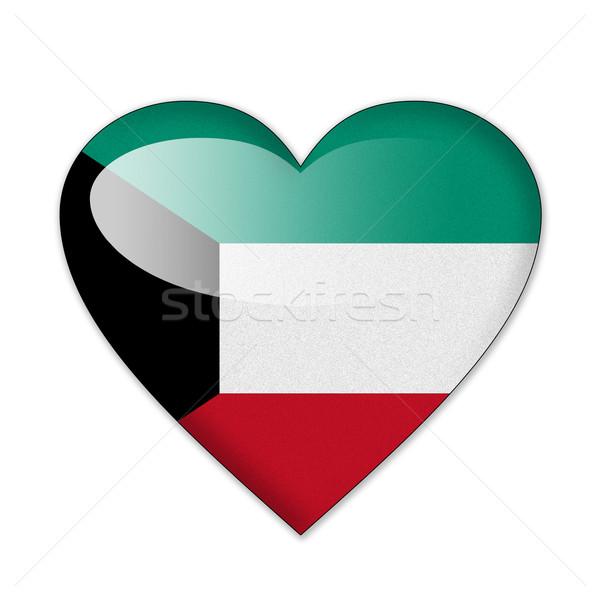 Kuweit bandeira forma de coração isolado branco amor Foto stock © pinkblue