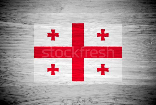 Грузия флаг текстура древесины текстуры стены природы Сток-фото © pinkblue