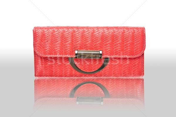 Kırmızı kadın çanta zemin para banka Stok fotoğraf © pinkblue