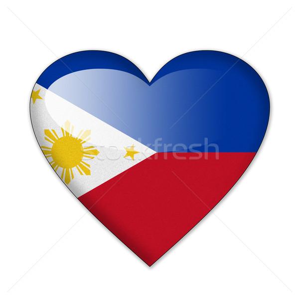フィリピン フラグ 心臓の形態 孤立した 白 愛 ストックフォト © pinkblue