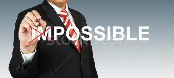 Motivation concept, transforming word impossible into possible Stock photo © pinkblue