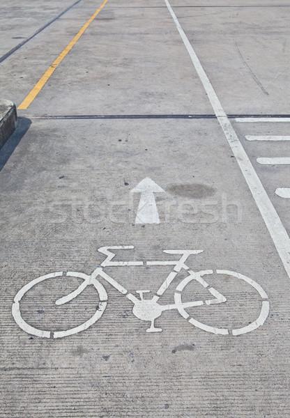 Bicikli felirat sáv város sport egészség Stock fotó © pinkblue