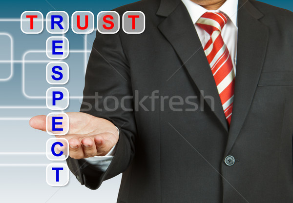 Stock photo: Businessman with wording Trust and Respect