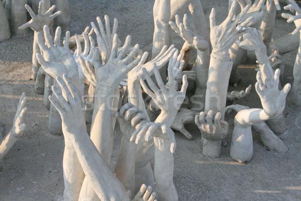 рук скульптуры ад знак молитвы шаблон Сток-фото © pinkblue