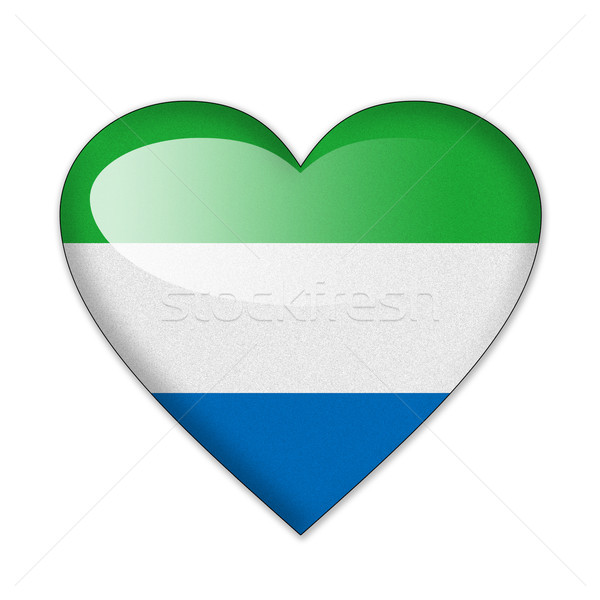 Sierra Leone flag in heart shape isolated on white background Stock photo © pinkblue