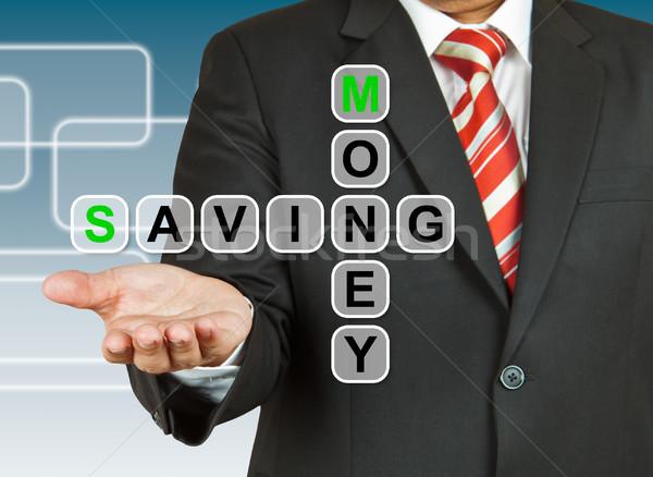 üzletember kéz rajz pénz takarékosság üzlet Stock fotó © pinkblue