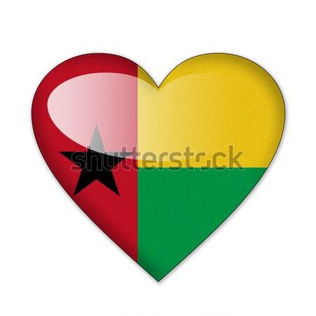 Zászló szív alak izolált fehér szeretet vidék Stock fotó © pinkblue