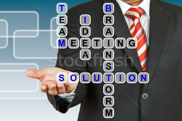 Businessman with wording Solution from working together Stock photo © pinkblue
