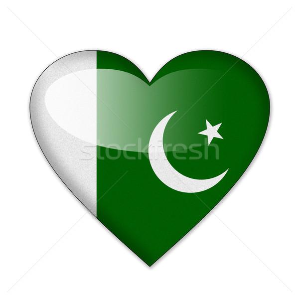 Foto stock: Paquistão · bandeira · forma · de · coração · isolado · branco · amor