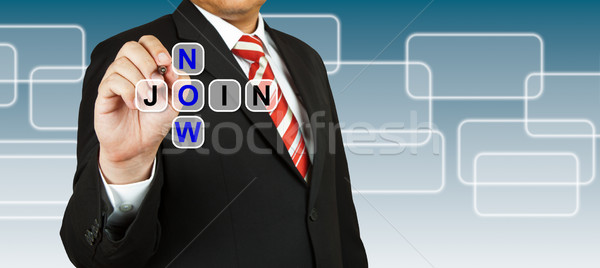 Businessman with wording Join Now Stock photo © pinkblue