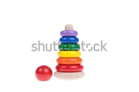 Kleurrijk houten speelgoed geïsoleerd witte hout bouw Stockfoto © pinkblue