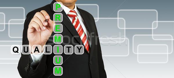 Biznesmen strony rysunek premia jakości farbują Zdjęcia stock © pinkblue