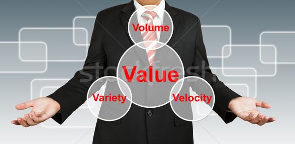 Foto stock: Empresário · valor · informação · dinheiro · homem · teia