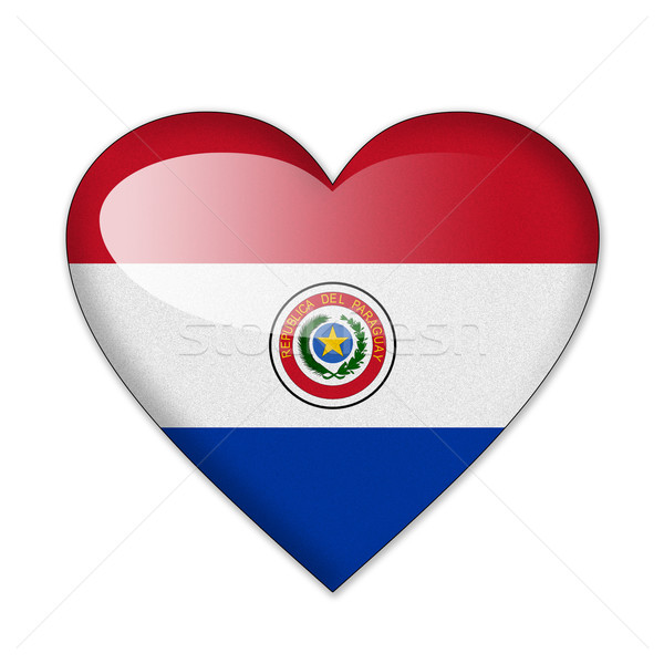 Paraguay zászló szív alak izolált fehér szeretet Stock fotó © pinkblue