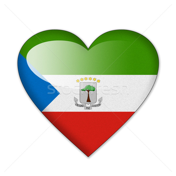 Equatorial Guinea flag in heart shape isolated on white backgrou Stock photo © pinkblue