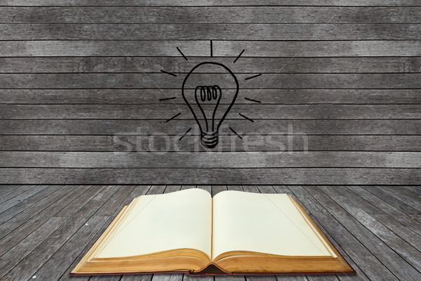 Book and lightbulb in a wood room Stock photo © pinkblue