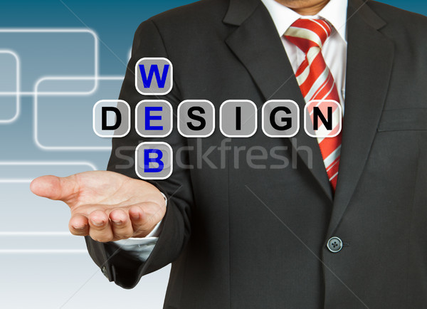 Businessman hand drawing Web Design Stock photo © pinkblue