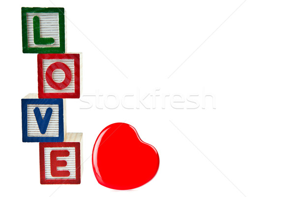 Love by block toy isolated on white background Stock photo © pinkblue
