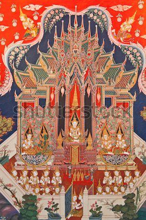 Thai arte pintura templo Tailândia parede Foto stock © pinkblue