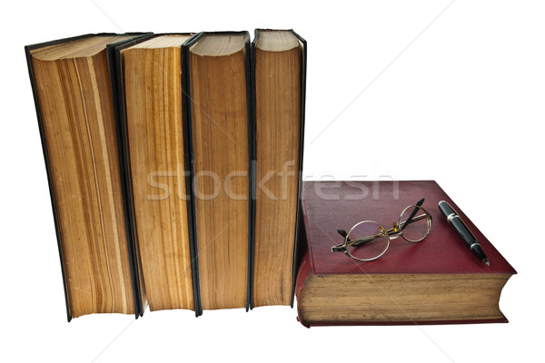 Eski kitaplar göz gözlük kalem yalıtılmış Stok fotoğraf © pinkblue